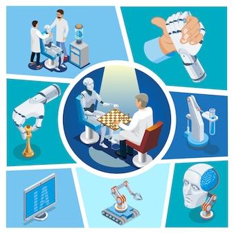 Composizione isometrica di intelligenza artificiale con robot che gioca a scacchi contro lo scienziato cyborg testa monitor braccio di ferro con la mano robotica