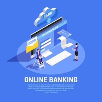 Composizione isometrica di internet banking con servizio di sicurezza dell'archiviazione cloud della carta di credito di accesso all'account online