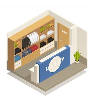 Composizione isometrica di lavanderia