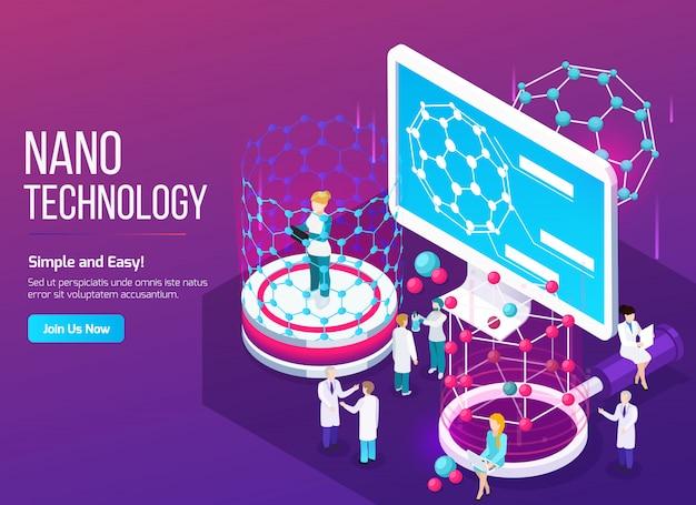 Composizione isometrica di nanotecnologia con scienziati nel processo di lavoro e schermo con struttura fullerene 3d