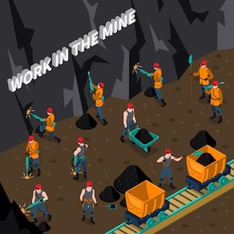 Composizione isometrica di persone minatore