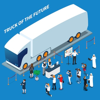 Composizione isometrica di presentazione del camion elettrico