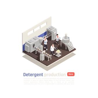 Composizione isometrica di produzione detergente con linea di imbottigliamento di attrezzature moderne e assistenti che collaudano il prodotto finito