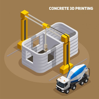Composizione isometrica di produzione di calcestruzzo con vista di 3d stampato edificio in costruzione con camion betoniera