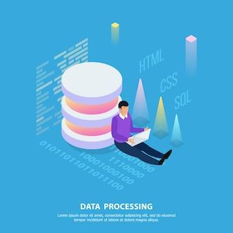 Composizione isometrica di programmazione freelance con testo di cifre grafiche e carattere umano con testo modificabile
