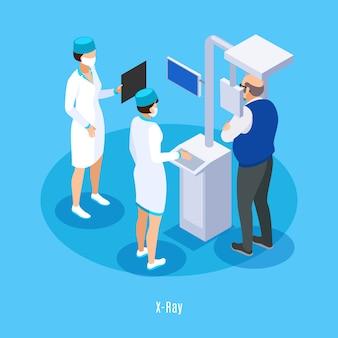 Composizione isometrica di ricerca in ct del raggio x dell'ufficio del dentista con il fondo blu paziente dell'assistente del tecnico medico