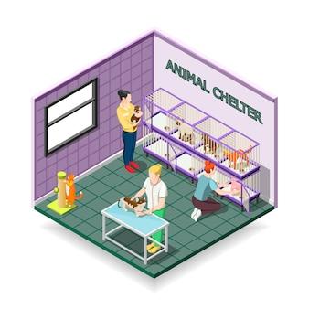 Composizione isometrica di rifugio per animali
