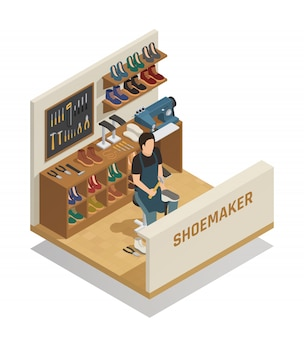 Composizione isometrica di servizio di riparazione di scarpe