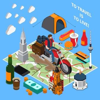 Composizione isometrica di stile di vita turistico
