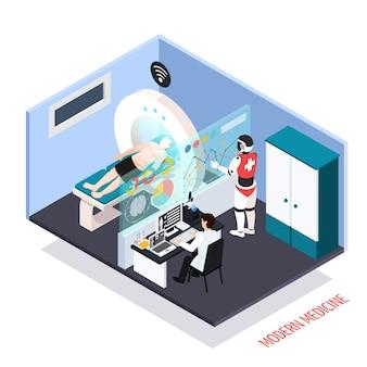 Composizione isometrica di tecnologie mediche avanzate con test diagnostici scanner scanner mri assistiti robotizzati controllati dall'illustrazione dell'operatore