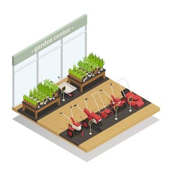 Composizione isometrica di vendita dell'attrezzatura del garden center