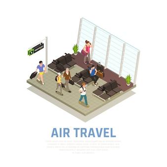 Composizione isometrica di viaggio aereo di persone con bagaglio nella zona di attesa del terminal dell'aeroporto