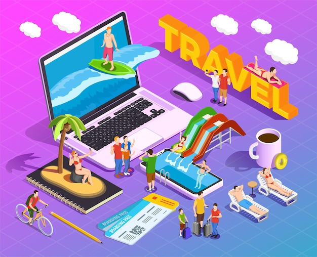 Composizione isometrica di viaggio su persone con gradiente durante l'intrattenimento durante le vacanze su schermi di dispositivi mobili