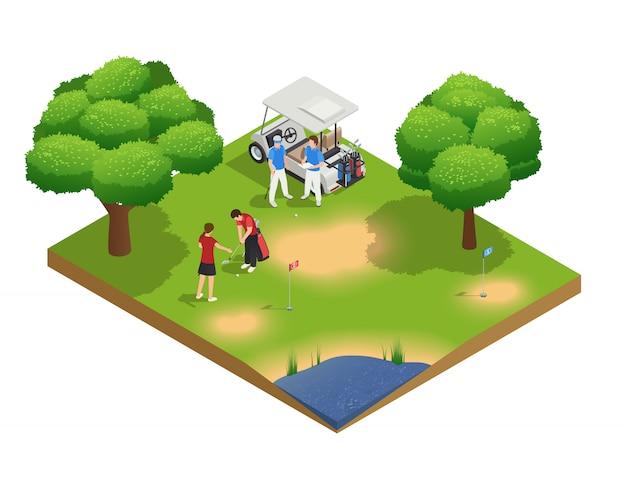 Composizione isometrica di vista superiore del campo da golf verde con la gente che golfing e carrello vicino stante