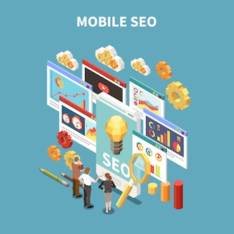 Composizione isometrica e colorata in web seo con descrizione mobile di seo e illustrazione di situazione di riunione d'affari o di