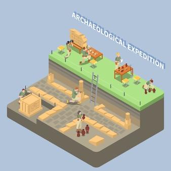 Composizione isometrica in archeologia con resti antichi e simboli di spedizione