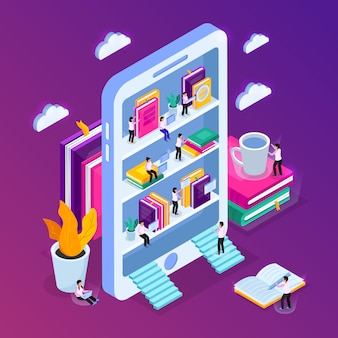 Composizione isometrica in biblioteca online con immagine di smartphone con scaffali e piccole persone con nuvole