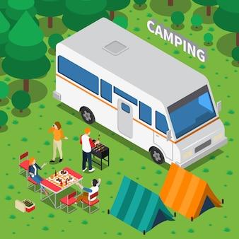 Composizione isometrica in campeggio