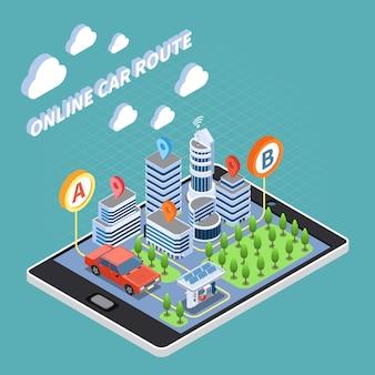 Composizione isometrica in car sharing con simboli di percorsi auto online