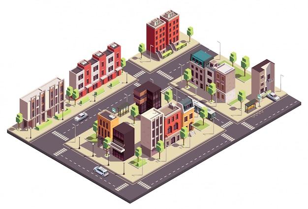 Composizione isometrica in edifici a schiera con paesaggio urbano e strade con case e automobili