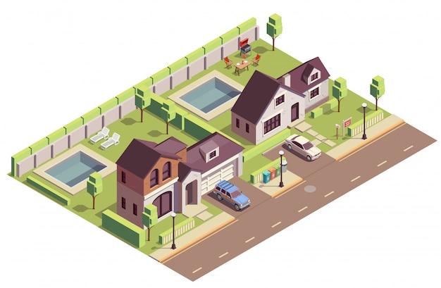 Composizione isometrica in edifici suburbani con vista esterna di due aree di quartiere con ville e cortili residenziali