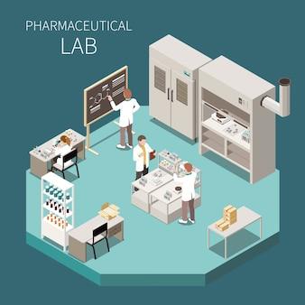 Composizione isometrica in produzione farmaceutica con il titolo di laboratorio farmaceutico e tre scienziato nell'illustrazione del laboratorio