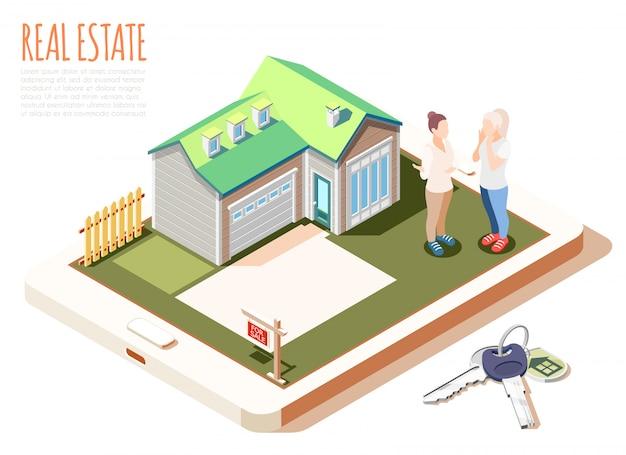 Composizione isometrica in realtà aumentata del bene immobile con la casa accogliente sveglia con l'illustrazione verde del tetto