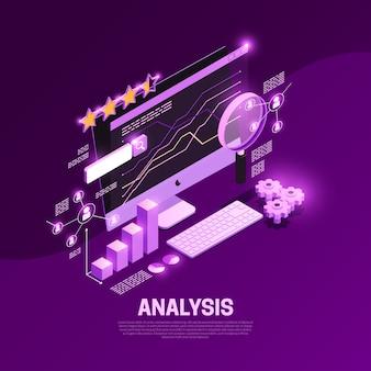 Composizione isometrica in seo di web con l'illustrazione di simboli di analisi del contenuto