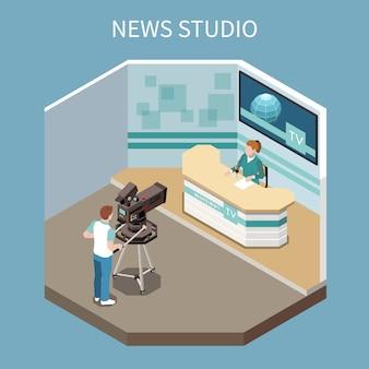 Composizione isometrica in telecomunicazione con il processo di programma di notizie della fucilazione nell'illustrazione di vettore dello studio 3d