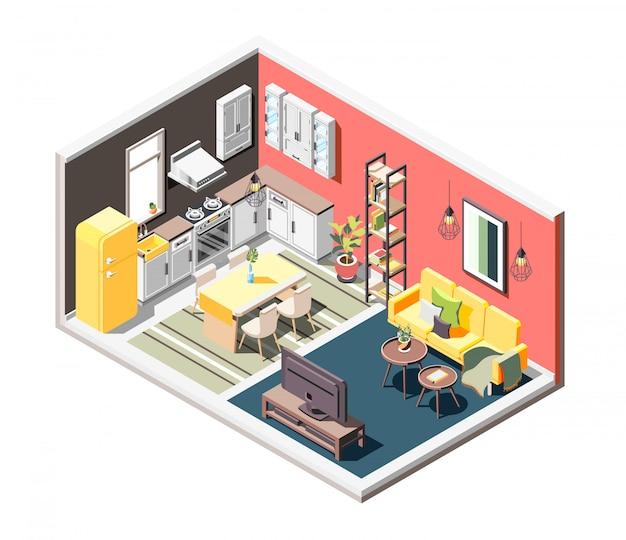 Composizione isometrica interna a soppalco con panoramica di accogliente monolocale diviso in cucina e zone giorno