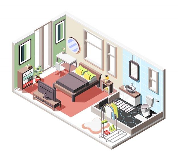Composizione isometrica interna a soppalco con vista interna del soggiorno e bagno con mobili e finestre