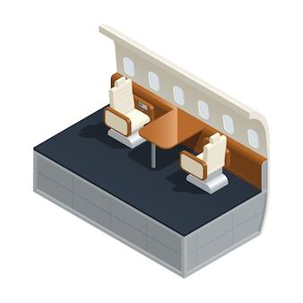 Composizione isometrica interna dell'aeroplano colorato con mobilia e servizi dentro l'illustrazione di vettore del salone