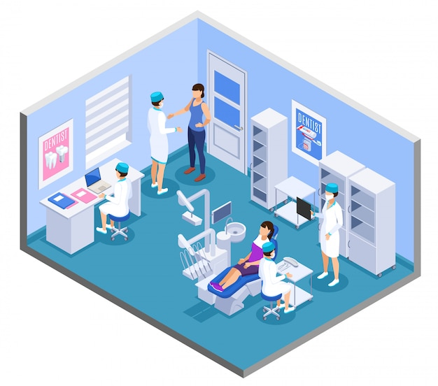 Composizione isometrica interna dell'ufficio di pratica della clinica dentale con la mobilia dell'attrezzatura di trattamento del paziente degli assistenti medici del dentista