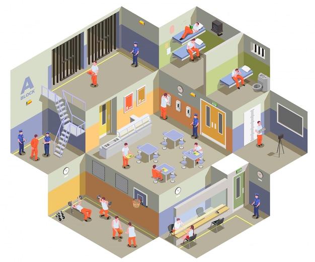 Composizione isometrica interna nella struttura di detenzione della prigione con i prigionieri nell'illustrazione della palestra e della zona della mensa delle cellule