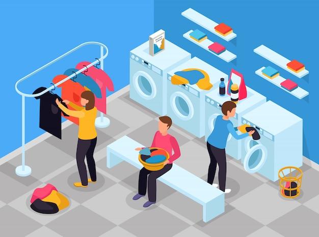 Composizione isometrica lavanderia con vista interna della lavanderia con lavatrice detersivi e persone