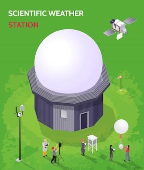 Composizione isometrica meteorologica colorata nel centro meteorologico con descrizione scientifica della stazione meteorologica