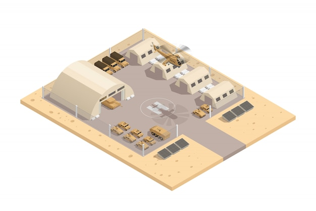 Composizione isometrica militare di colore beige con con la piazzola di eliporto e l'area protetta di vettore di area di parcheggio