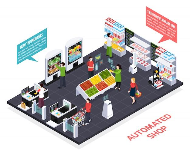 Composizione isometrica negozio automatizzato