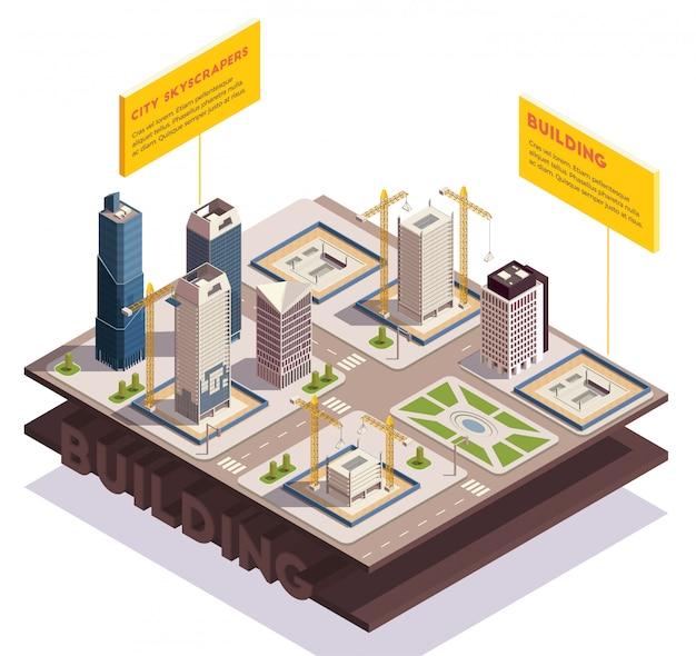 Composizione isometrica nei grattacieli della città con le immagini degli strati a terra affettati con l'illustrazione in costruzione moderna di vettore degli edifici alti