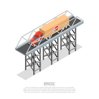 Composizione isometrica nel dettaglio della piccola portata della costruzione metallica del ponte del viadotto con l'auto del carico