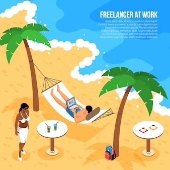 Composizione isometrica nel lavoro a distanza con le free lance alla spiaggia tropicale in amaca con il taccuino all'illustrazione di vettore del lavoro