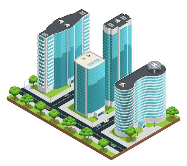 Composizione isometrica nel paesaggio urbano con grattacieli moderni e cantieri verdi su sfondo bianco