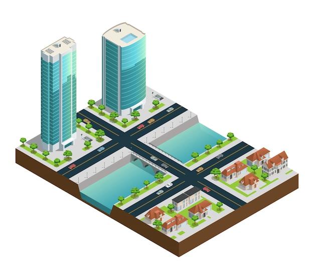 Composizione isometrica nel paesaggio urbano con le case suburbane dei grattacieli moderni vicino al canale