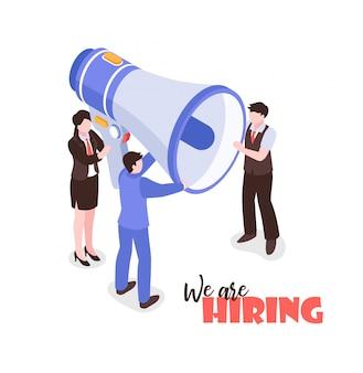 Composizione isometrica nel reclutamento di ricerca di lavoro su fondo bianco con testo e gruppo di persone che tengono megafono