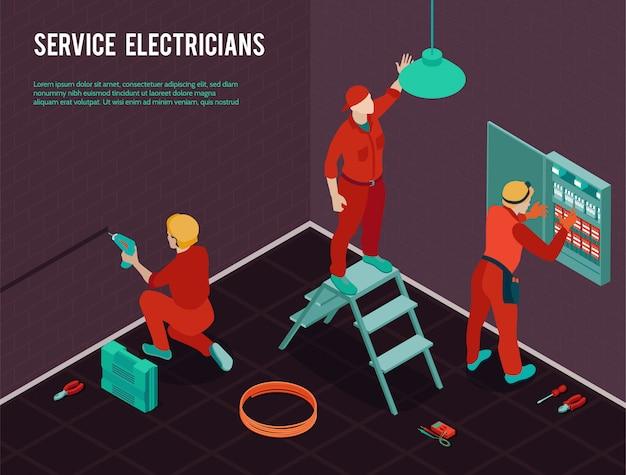 Composizione isometrica nel servizio di manutenzione di rinnovamento della costruzione dell'ufficio degli elettricisti con la squadra degli operai che installa il quadro di comando