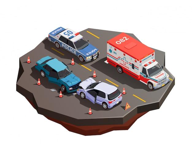 Composizione isometrica nel trasporto pubblico della città con due automobili rotte dopo la collisione con l'ambulanza e l'illustrazione del volante della polizia