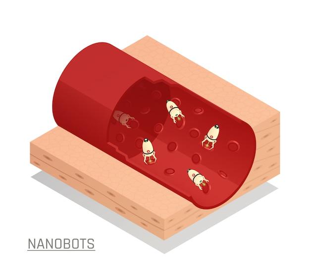 Composizione isometrica nel vaso sanguigno di nanorobots
