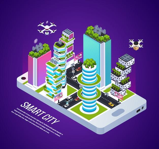 Composizione isometrica nella città astuta con tecnologia ed energia della città, illustrazione isometrica di vettore