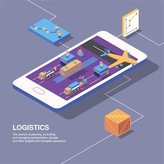 Composizione isometrica nella consegna di logistica con le icone dei grafici di immagine del telefono delle scatole del pacchetto e di trasporto con l'illustrazione di vettore del testo