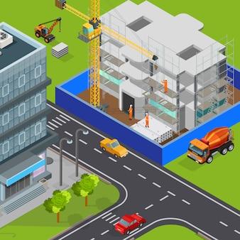 Composizione isometrica nella costruzione con la vista all'aperto delle automobili moderne delle vie della città e dell'illustrazione in costruzione di vettore dell'isolato